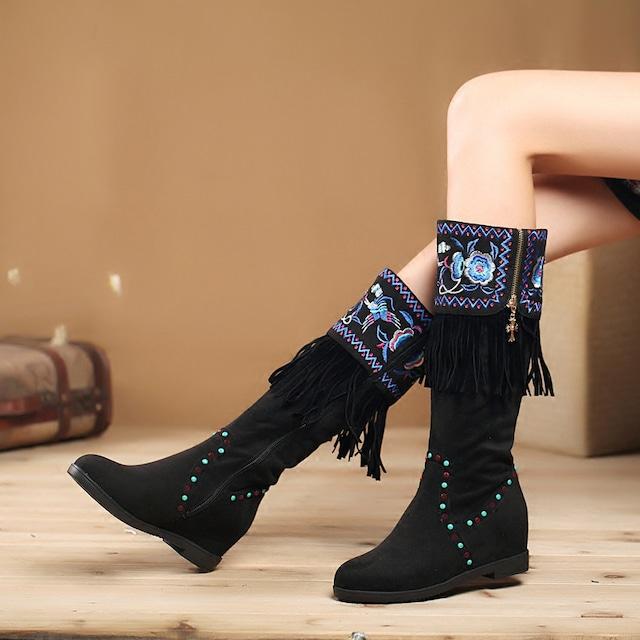 民族風靴 チャイナ靴 ブーツ 35 36 37 38 39 40 刺繍入り エレガント 気質アップ フリンジ ブラック 黒い