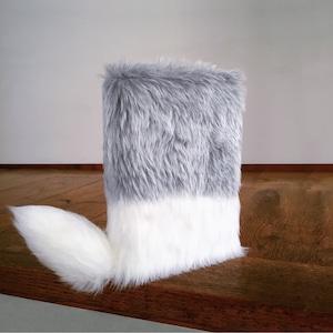 尻尾が栞になるフワフワなブックカバー:Gray&White