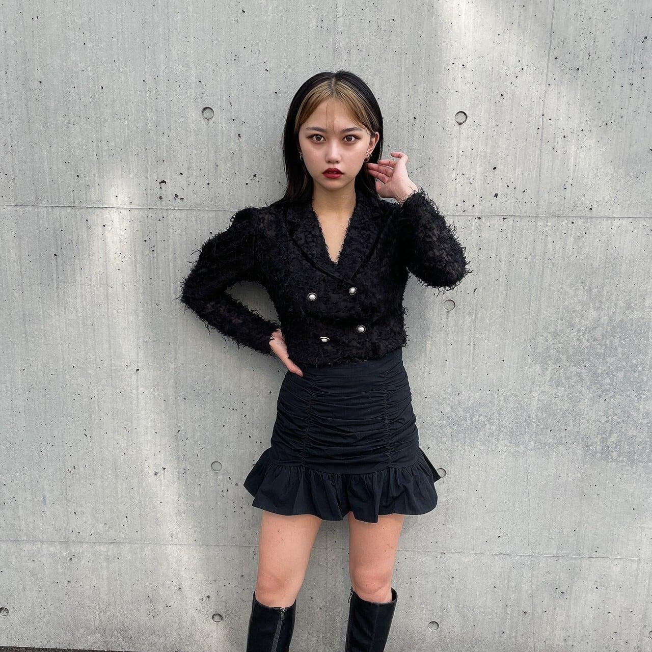 【Belle】gather frill mini skirt / black