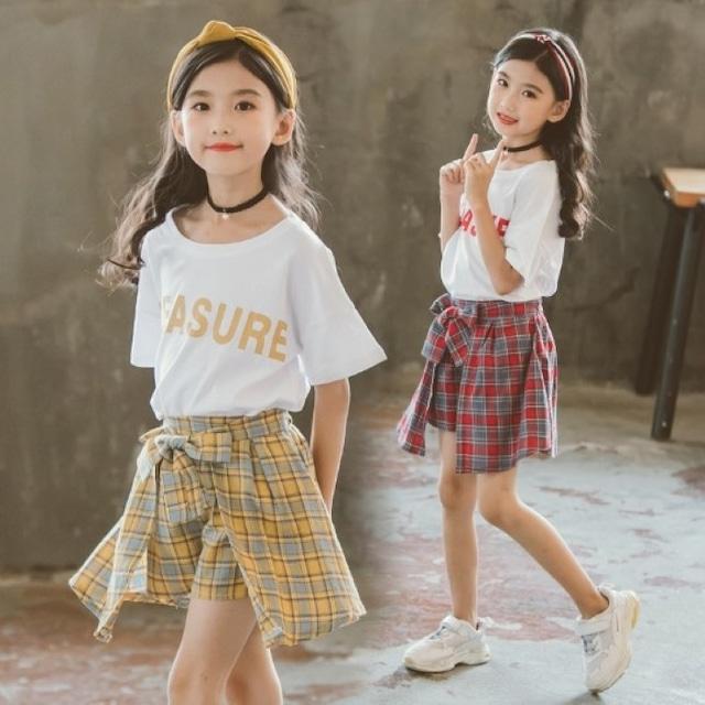 子供服 女の子 半袖 ショートパンツ 二点セット 可愛い 夏 色違い 130 140 150 160 ショーパン キッズ オシャレ 韓国 韓国子供服 上下 小学生 公園 夏休み 赤 黄色