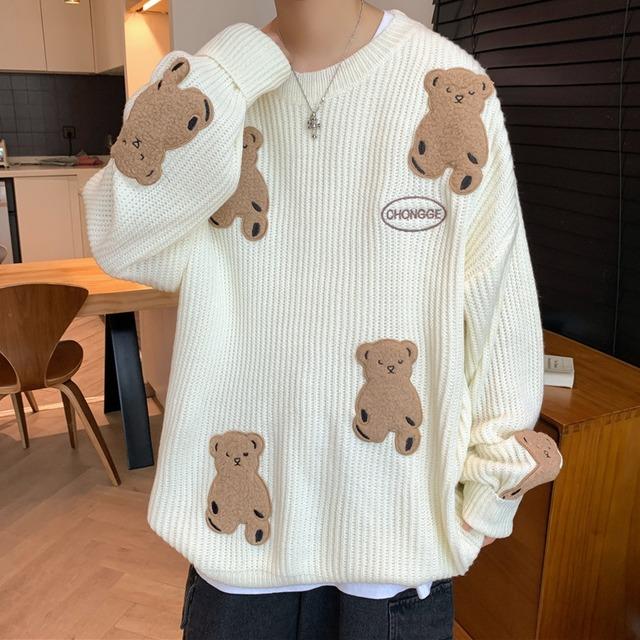 【メンズファッション】動物柄長袖切り替えセーター53914904