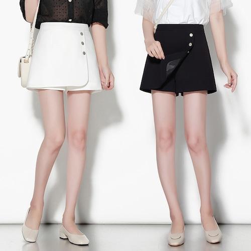 【★送料無料★】ラップショートパンツ 韓国ファッション ボトムス パンツ ショート丈 キュロット ラップスカート風 全2色 ホワイト ブラック レディース オルチャンファッション DCT-595018597141