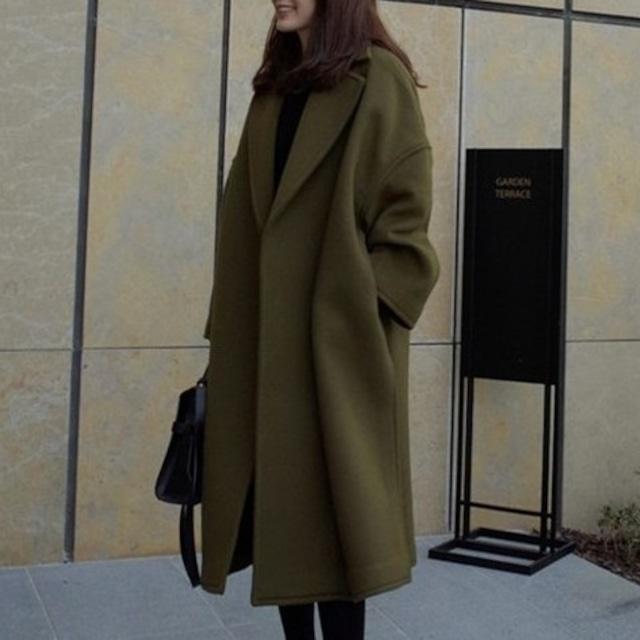 【アウター】高級感韓国系長袖折り襟コート23305734