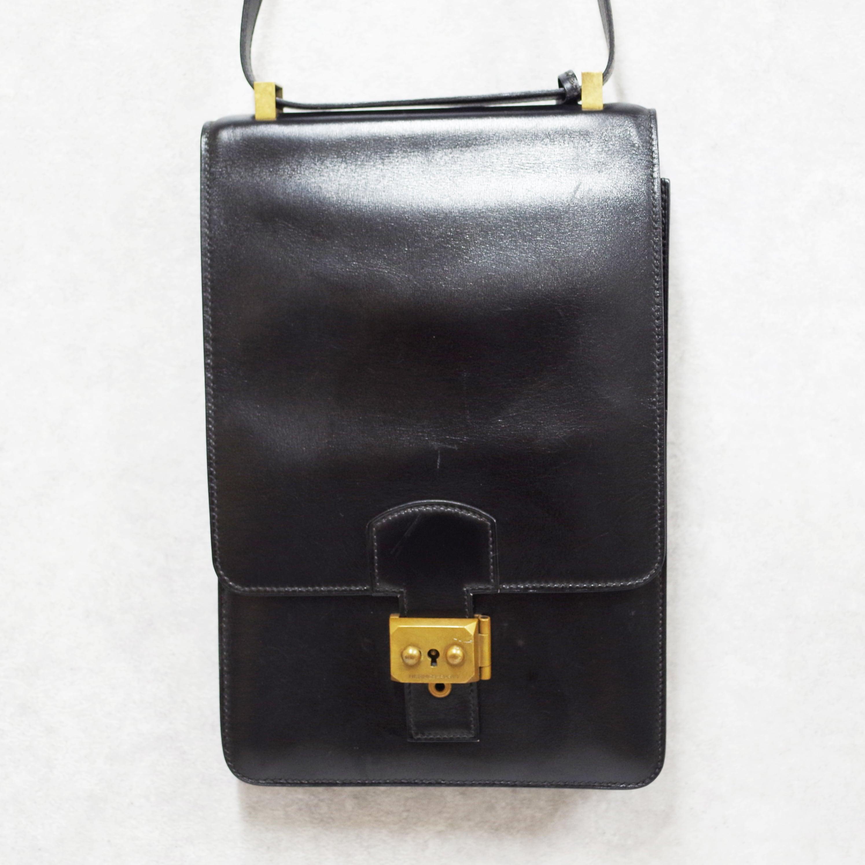 HERMES エルメス サックアデペッシュ カーフ ショルダーバッグ ブラック ボックスカーフ