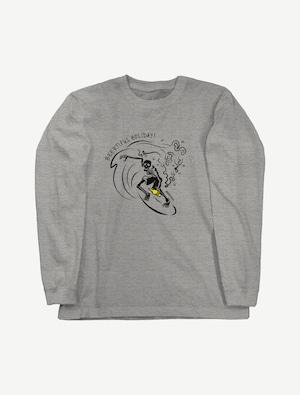 【サーフィンガイコツ】ロングスリーブTシャツ(ミックスグレー)