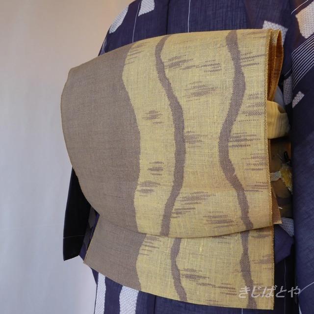 正絹絽 アイボリーに葉の袋帯