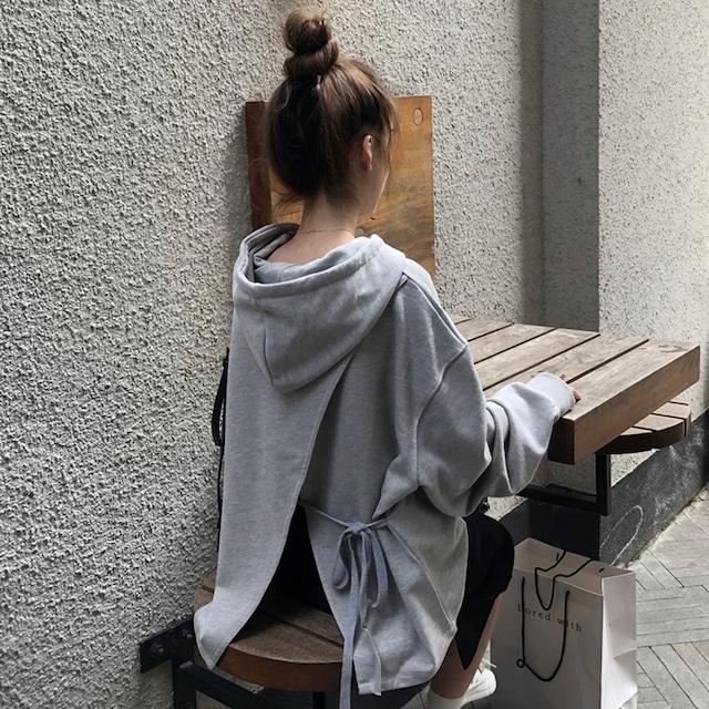 【トップス】シンプル長袖無地フード付きプルオーバーパーカー43009146