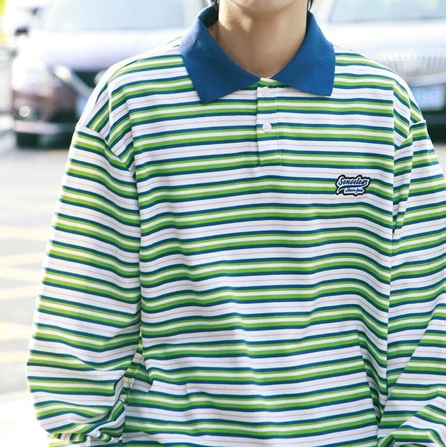 ボーダーロングポロシャツ YH4905