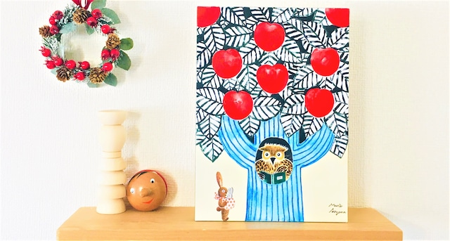 A4サイズ:リンゴの木のフクロウさん家