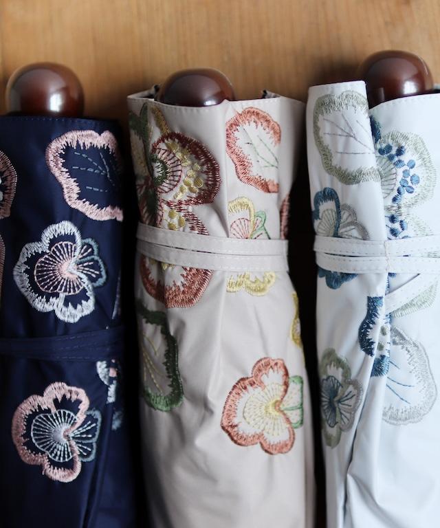 【ビオラ 刺繍】晴雨兼用日傘(折りたたみ )(ELS50-mini)