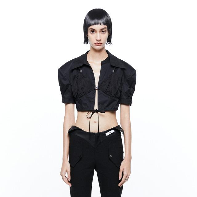 【24 ans】 クロップ丈カットアウトシャツ