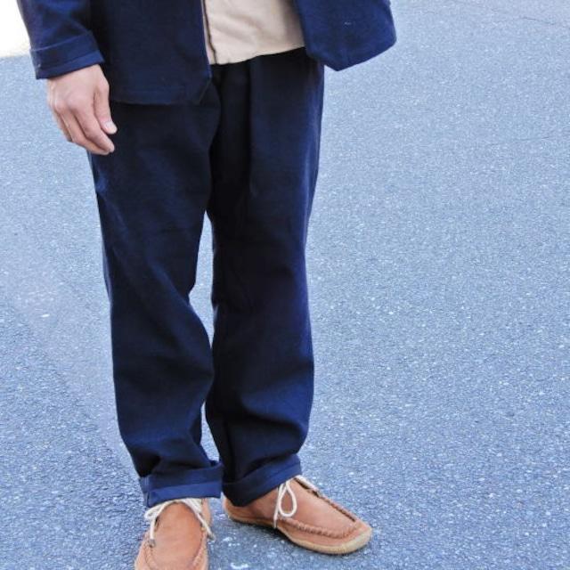 LOLO ロロ 綿ウール 裏付き イージーパンツ ネイビー