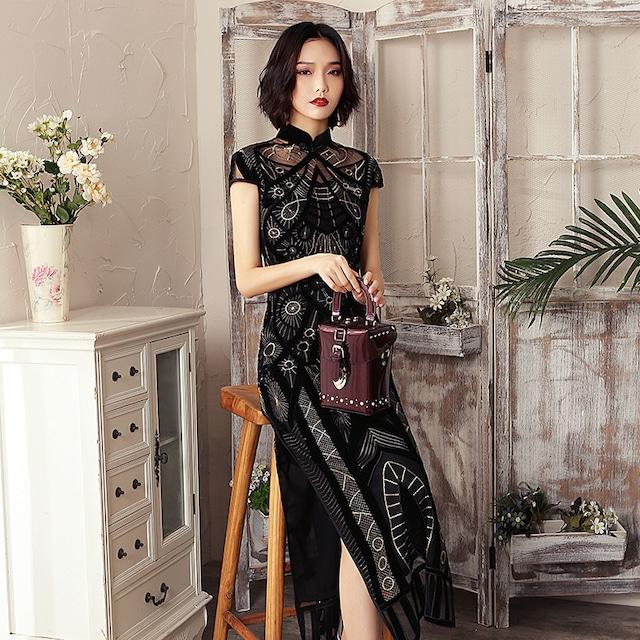 チャイナドレス ワンピース 中華服 着痩せ 上品 大きいサイズ M L LL 3L 4L 5L ブラック 黒い