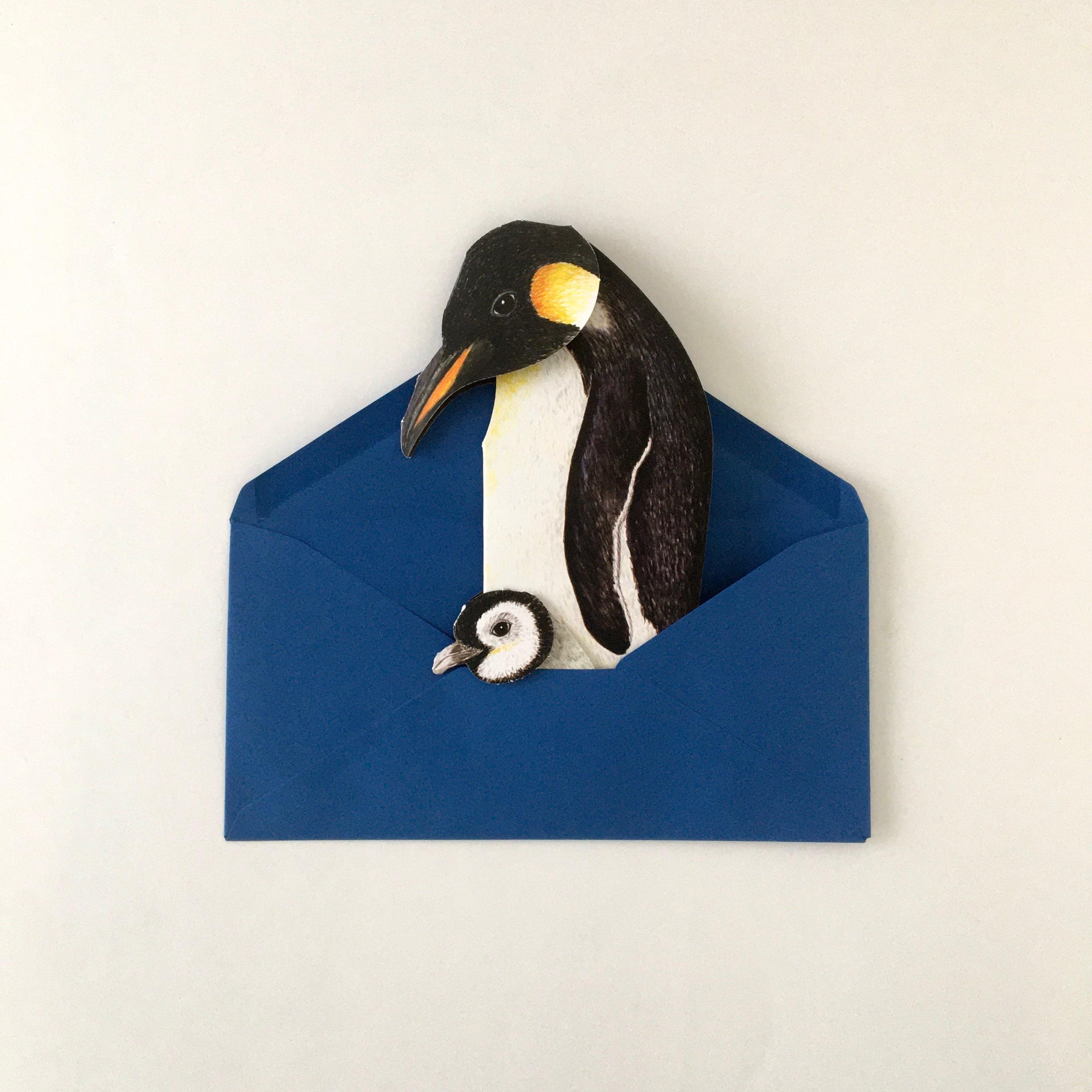 """動物の立体カード「ペンギン」 Animal Folding Card """"Penguins"""""""