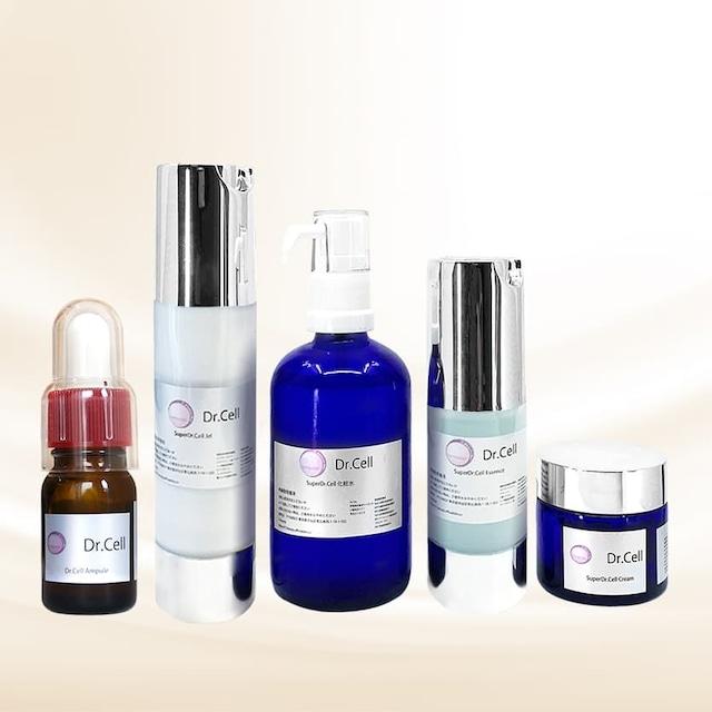 ≪SuperDr.Cell≫高濃度化粧品1ヶ月5点SET(アンプル&化粧水&エッセンス&ジェル&クリーム)