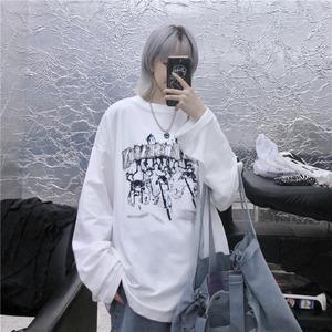 【トップス】韓国系長袖プリントラウンドネックプルオーバーTシャツ42914231