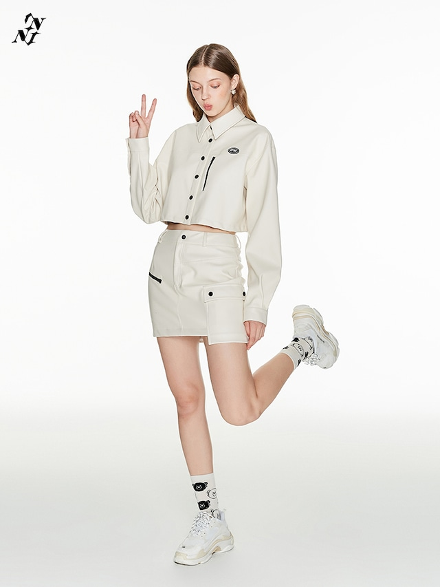 【1 JINN STUDIO】カーゴポケット付きエコレザースカート