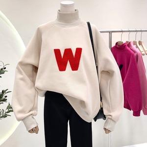 【トップス】存在感抜群韓国ファッション 裏起毛 アルファベット レトロ ハーフネック パーカー52631747