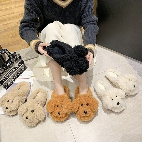 犬スリッパ ふわふわ もこもこ韓国ファッション レディース 犬デザイン 履心地良い フラットシューズ ルームシューズ ボア 可愛い 癒し 人気 カジュアル 622404790639