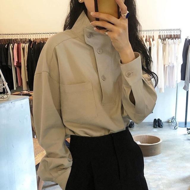 スタンドカラー 長袖シャツ(2color) B201025