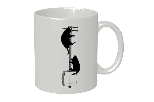 三味線と黒猫のマグカップ