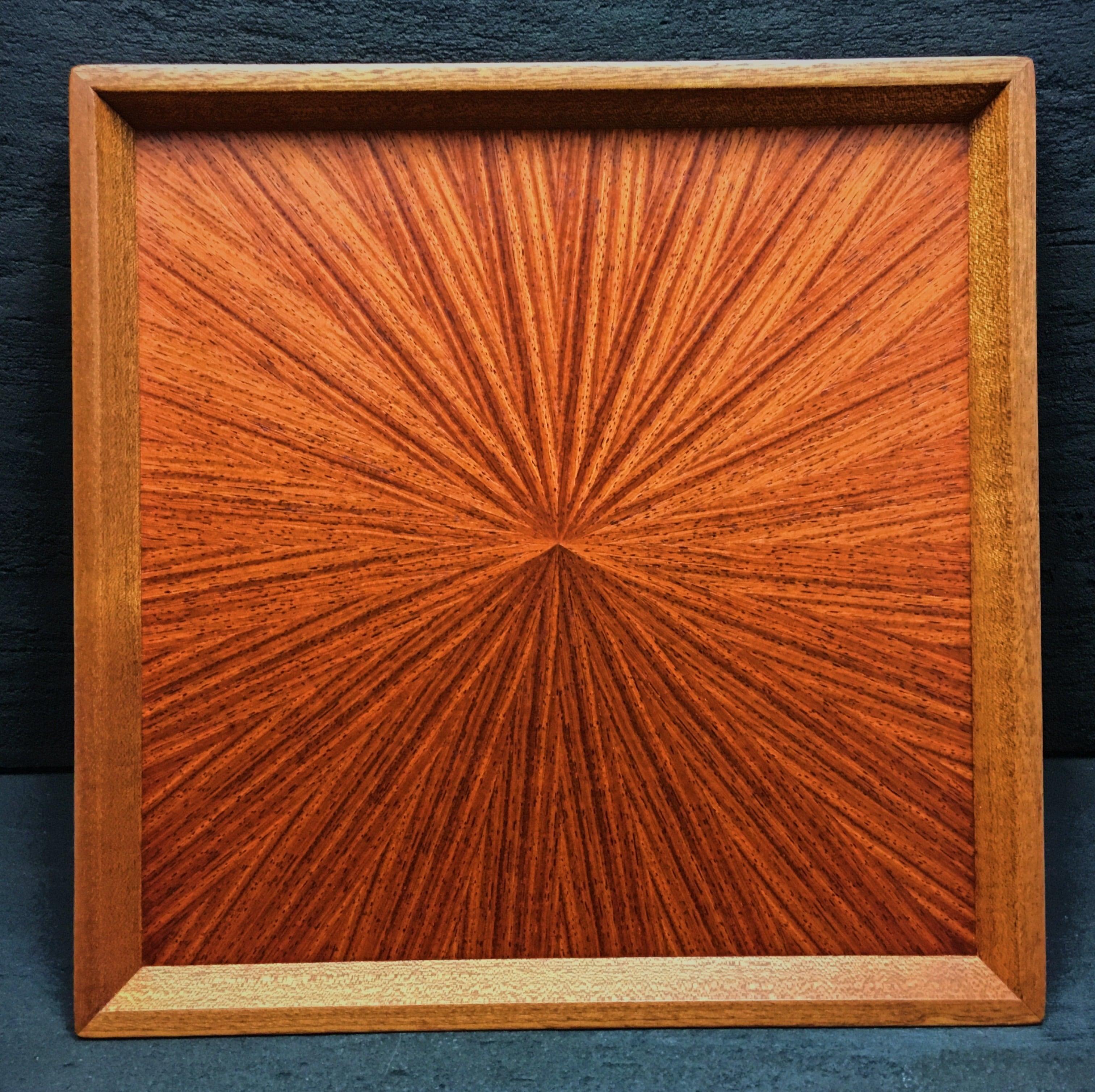 カリン 光線貼り正方形のトレー 0056