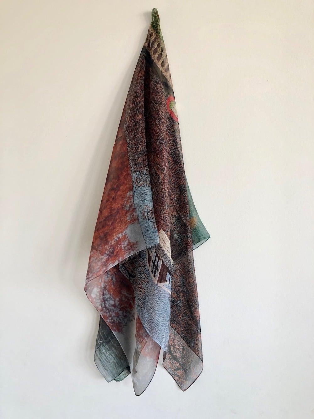 オレリーマティゴ   ジャルダン ブラウン 大判シルクシフォン スカーフ 110センチx110センチ