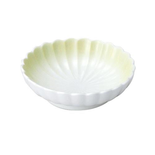 菊型丸皿(11.5cm) 可愛いカタチの小皿 ぼかし若草【2054-2780】