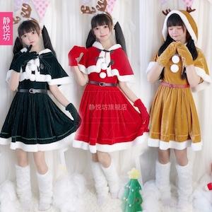 3557クリスマス衣装 レディース  コスプレ衣装 コスチューム 仮装 衣装 サンタ Xmas 赤 緑
