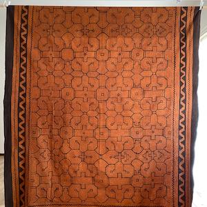 ベッドカバー35茶 特大 198x150cm アマゾン シピボ族の泥染め マルチカバー テーブルクロス 間仕切りカーテン