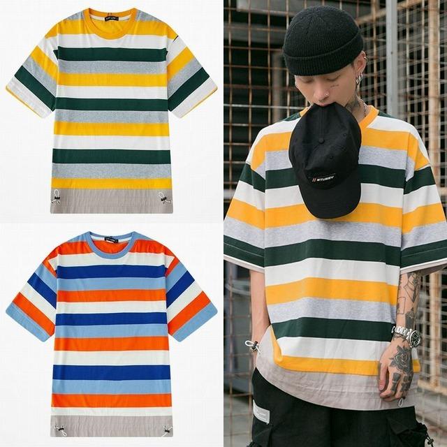 ユニセックス 半袖 Tシャツ メンズ レディース 裾絞り ボーダー オーバーサイズ 大きいサイズ ルーズ ストリート TBN-613694578665