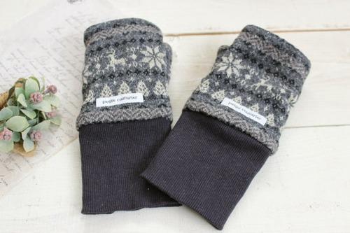 指なし手袋*ハンドウォーマー グレー トナカイ/Hippo 型番:Hip-017