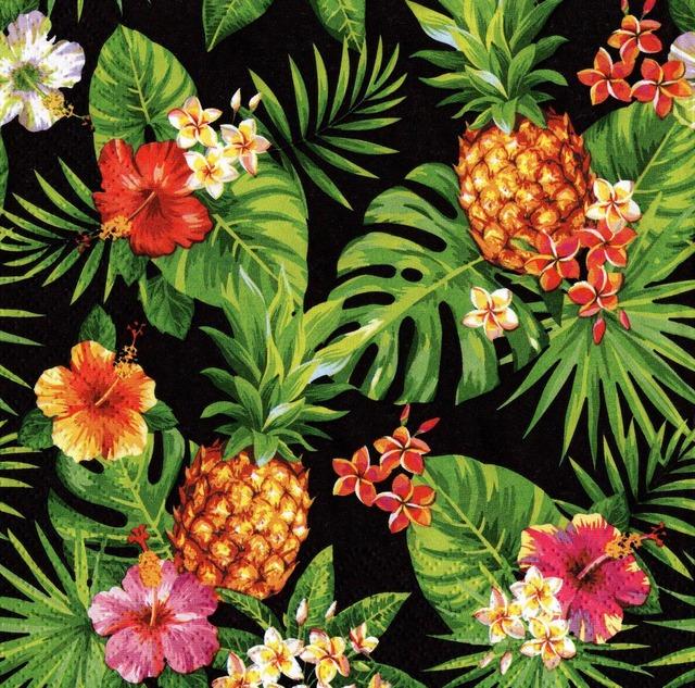 【ti-flair】バラ売り2枚 ランチサイズ ペーパーナプキン Pineapples & Palmleaves ブラック