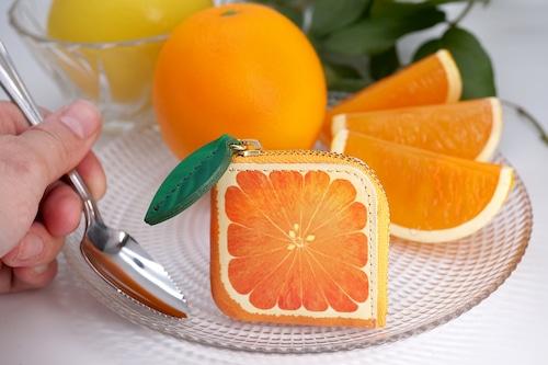 ミニチュアL字ファスナー小銭入れ/オレンジ(牛革製)
