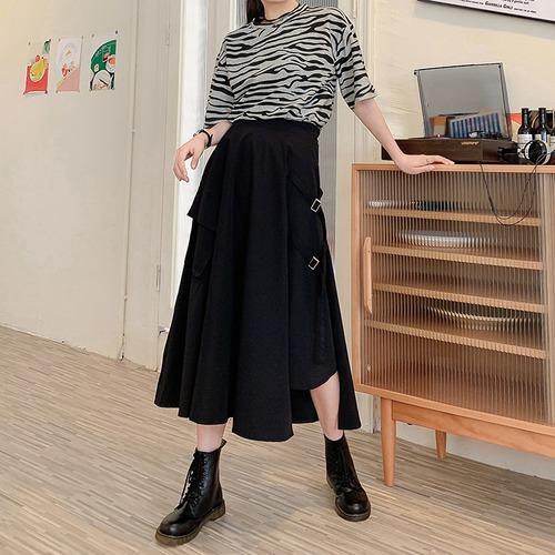 不規則デザイン スカート スプリットスカート アシンメトリー 韓国ファッション レディース ロングスカート アシメ Aライン バックル ハイウエスト シンプル ガーリー DTC-623466402690