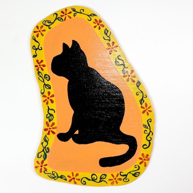 猫ちゃんウッド壁掛け(グレーブリティッシュキャット)