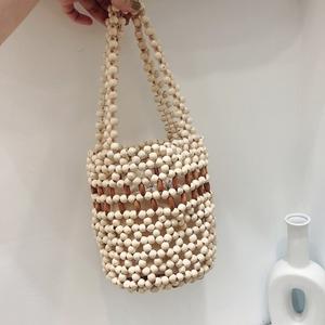 Wood beads mini bucket bag(ウッドビーズミニバケットバッグ)b-273