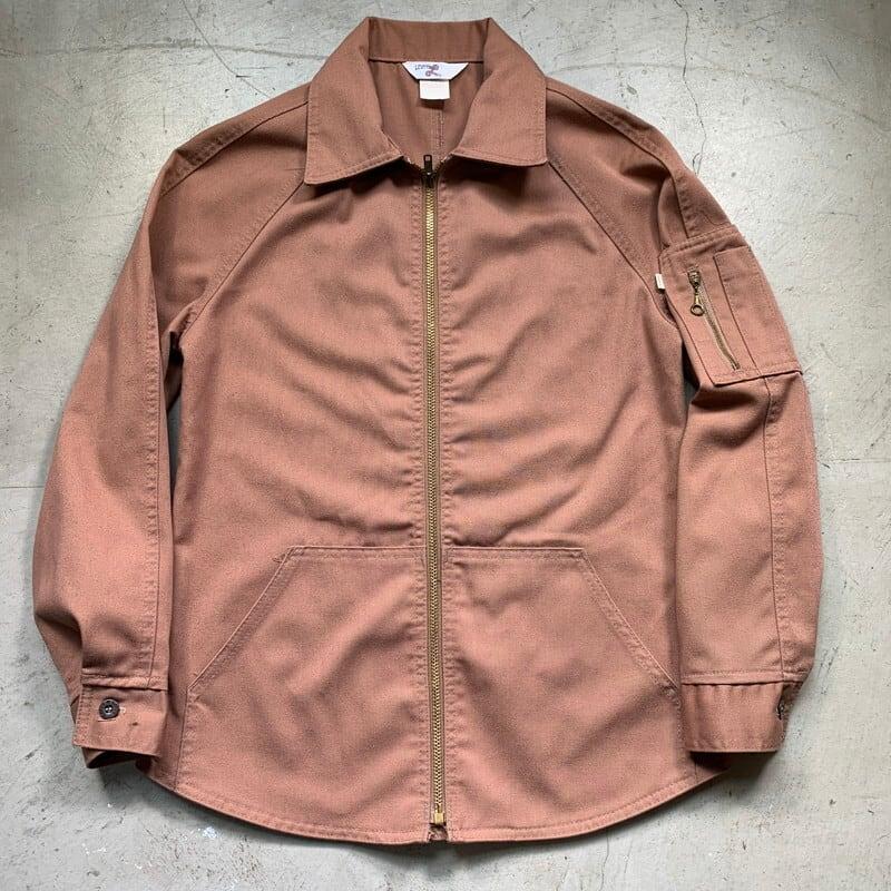 60~70's LADY LEVI'S レディー リーバイス 75054-3083 ジップアップワークシャツジャケット Big E ピンクベージュ Sサイズ TALONジッパー 希少 ヴィンテージ BA-1526 RM1945H