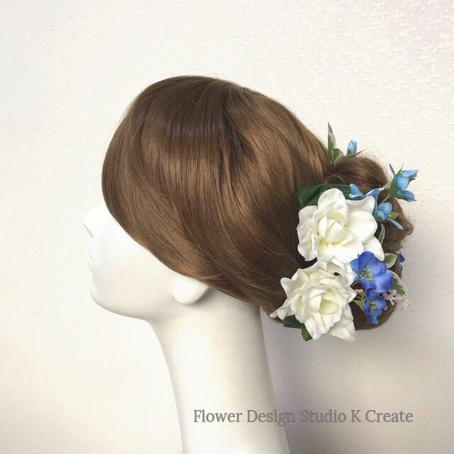 清楚な白い薔薇とブルースターのヘッドドレス(9点セット) ウェディング 白 ホワイト バラ ブルースター サムシングブルー 清楚 結婚式