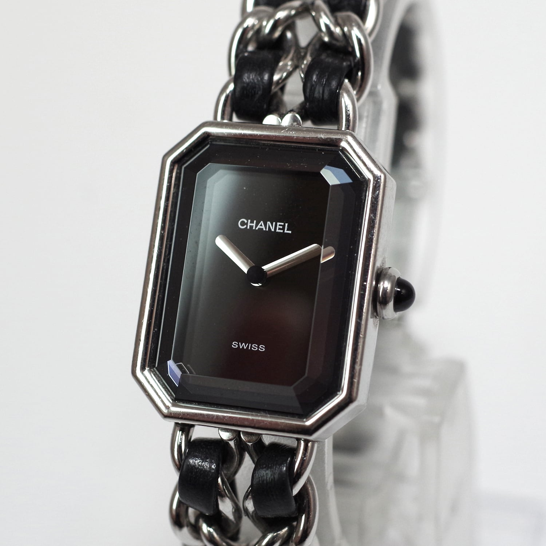CHANEL シャネル プルミエール シルバー クォーツ Mサイズ ブラック文字盤 腕時計 レディース