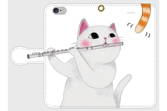 (iPhone用)フルート猫の手帳型スマホケース(尻尾)