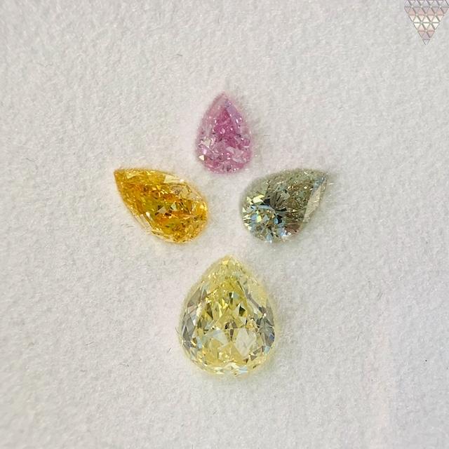 合計  1.01 ct 天然 カラー ダイヤモンド 4 ピース GIA  1 点 付 マルチスタイル / カラー FANCY DIAMOND 【DEF GIA MULTI】