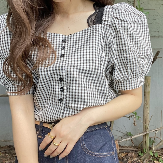 gingham check 3 button blouse [2105-20]