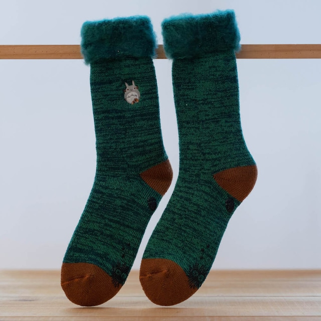となりのトトロ 裏起毛ふわふわ ソックス・靴下 23〜25cm(7631 / グリーン)