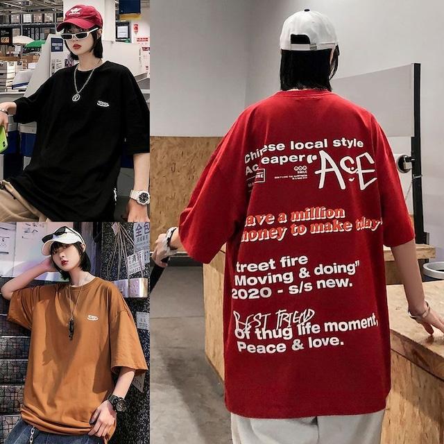 ユニセックス 半袖 Tシャツ メンズ レディース ワンポイント 英字 バックプリント オーバーサイズ 大きいサイズ ルーズ ストリート TBN-613895898150