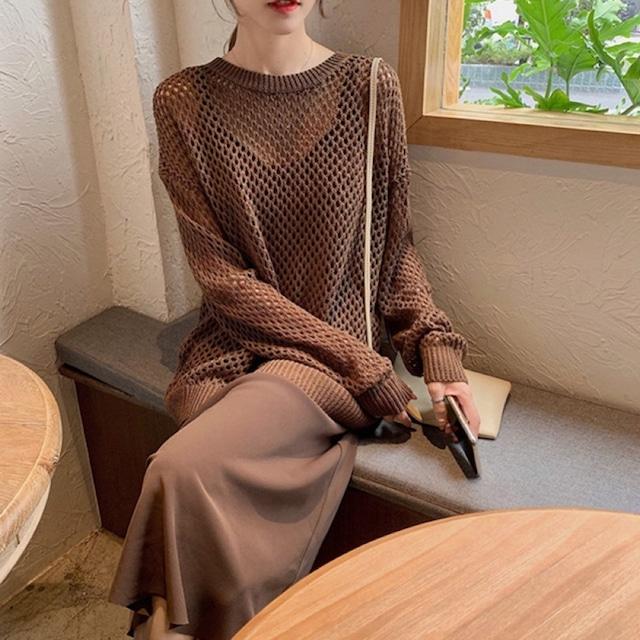 即納 Camisole dress & mesh knit 2color  KRE185