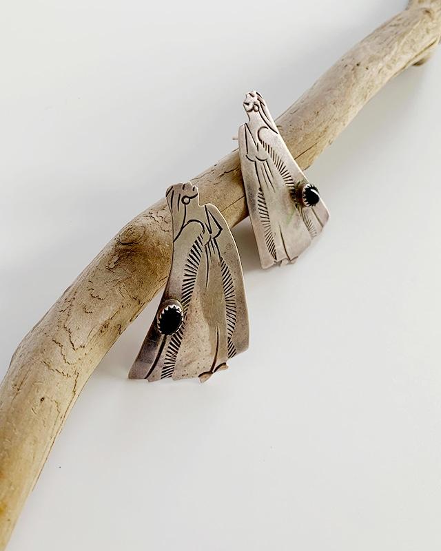 Native American silver black onyx pierced earrings