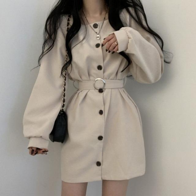【ワンピース】新作 ins 3色展開 韓国系 シングルブレスト ベルト付き スクエアネック 無地 カジュアルワンピース51863985