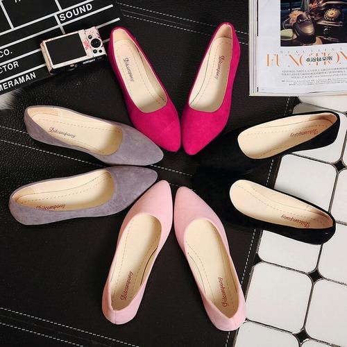 ポインテッドトゥ フラットパンプス 韓国ファッション スエード 靴 疲れない 歩きやすい 痛くない ぺたんこ フラット パンプス レディース DCT-544977817947_5