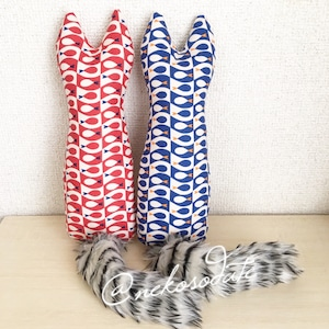 猫型キッカー・ジオフィッシュ柄/ふさふさ尻尾つき+プラ鈴入り